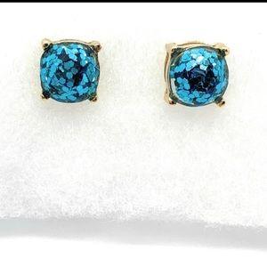 Kate spade ♠️ turquoise blue glitter stud earring